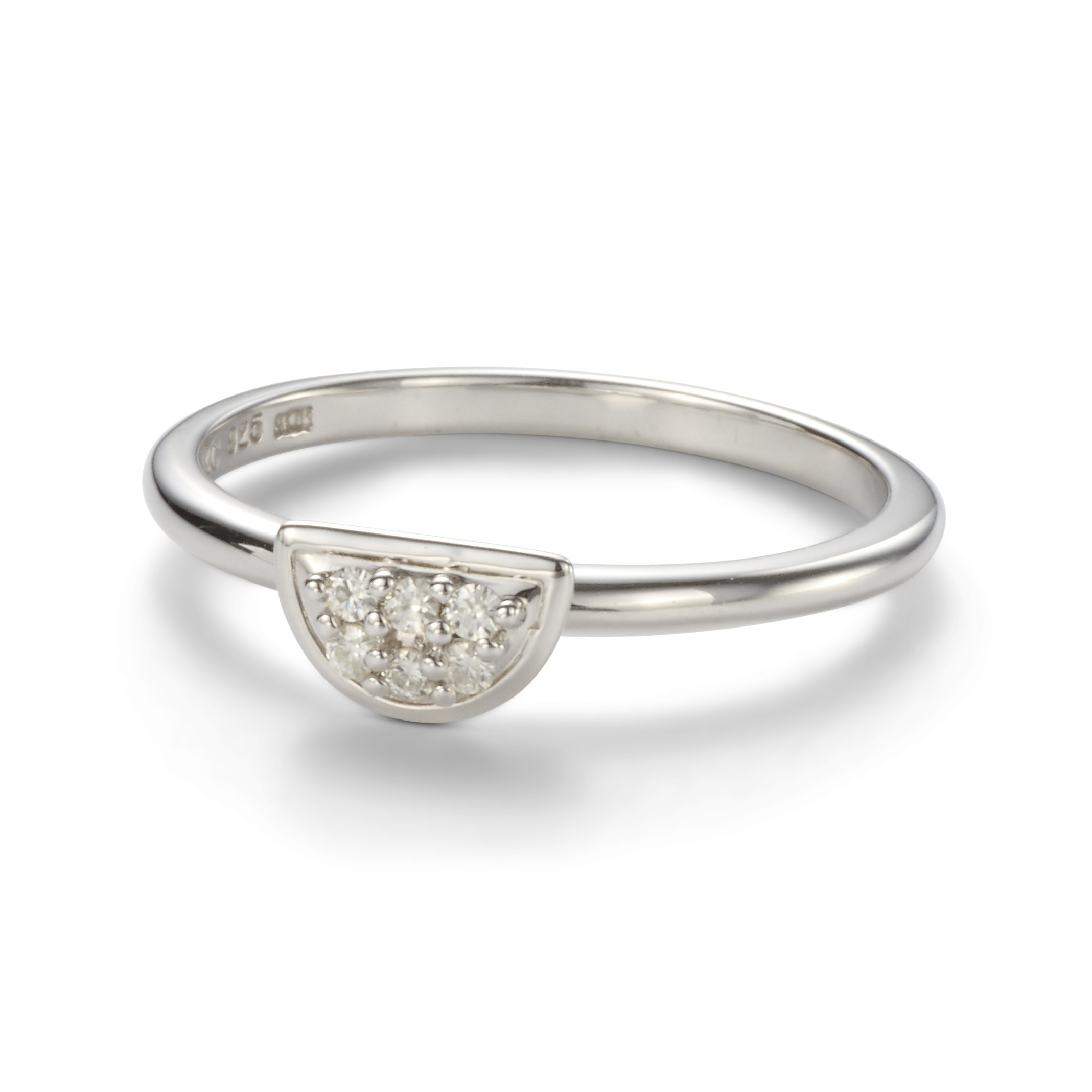 Forever Classic 1.4mm Moissanite Half Moon Pave Ring-size 7 by Charles & Colvard
