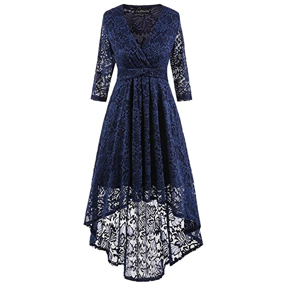 Zalin Womens Classy Vintage Swing 2/3 Sleeve V Neck Lace Fromal Evening Party Dresses at Amazon Womens Clothing store: