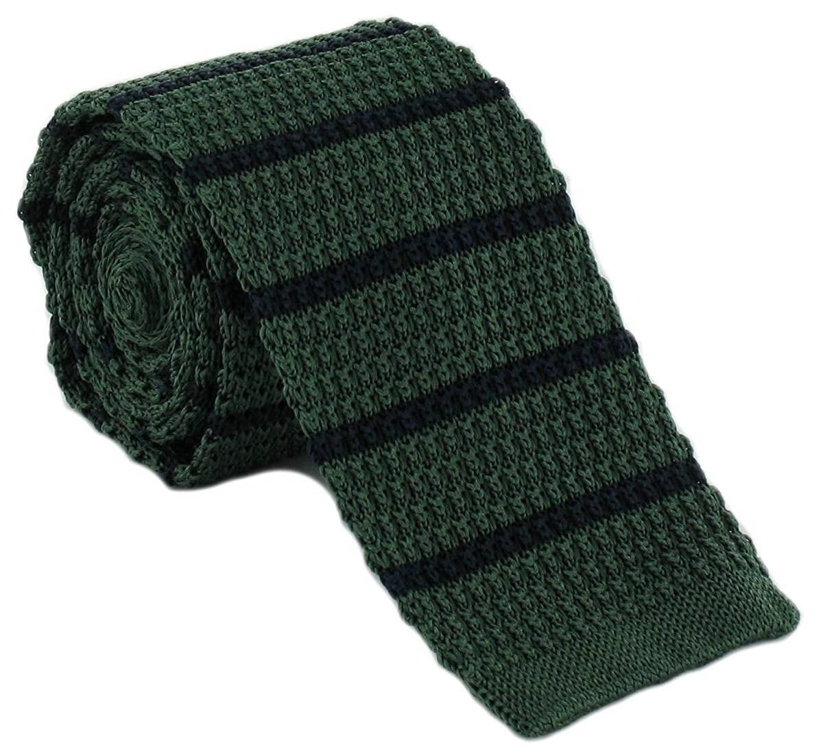 Green//Navy Michelsons of London Mens Silk Knitted Striped Skinny Tie
