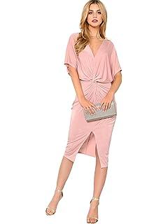 bc1536aa95 Verdusa Women's Satin Long Sleeve V Neck Collar Twist Wrap Maxi ...