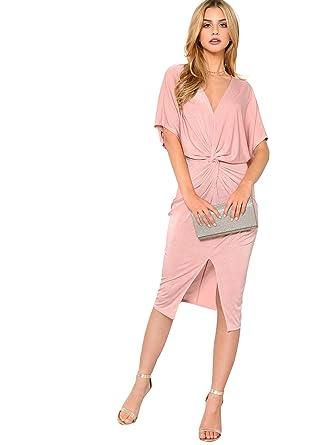 be4abfe98e871 Floerns Women's Short Sleeve V Neck Twist Front Split Midi Dress Pink XS