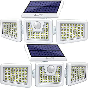 Solar Lights Outdoor -2 Pack, AmeriTop 800LM Wireless 128 LED Solar Motion Sensor Lights Outdoor; 3 Adjustable Heads, 270° Wide Angle Illumination, IP65 Waterproof, Security LED Flood Light (Daylight)