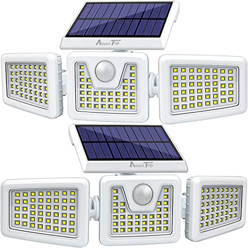 Solar Lights Outdoor -2 Pack, AmeriTop 800LM Wireless 128 LED Solar Motion Sensor Lights Outdoor 3 Adjustable Heads, 270 Wide Angle Illumination, IP65 Waterproof, Security LED Flood Light – White