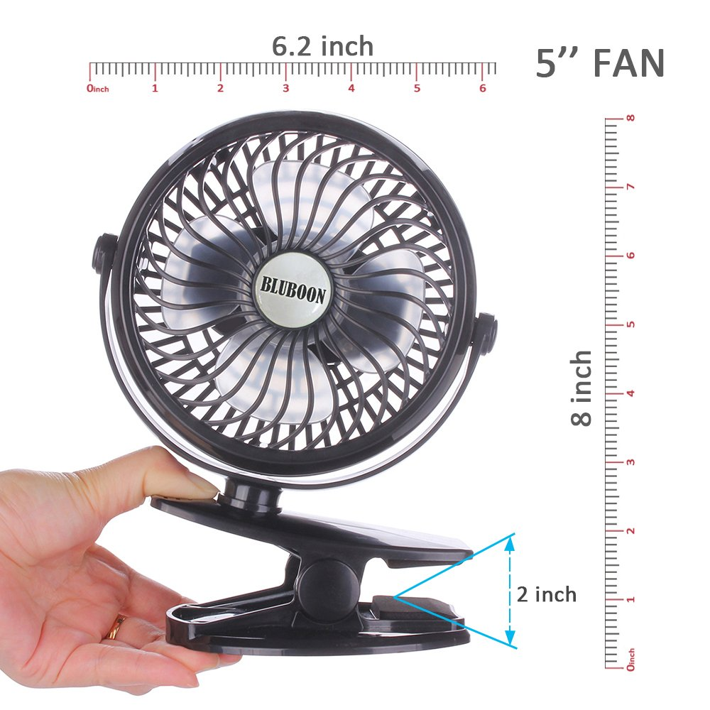 BLUBOON Clip on Fan Battery Operated Fan Portable for Baby Stroller 5'' (Two Batteries, one for Backup) by BLUBOON (Image #4)