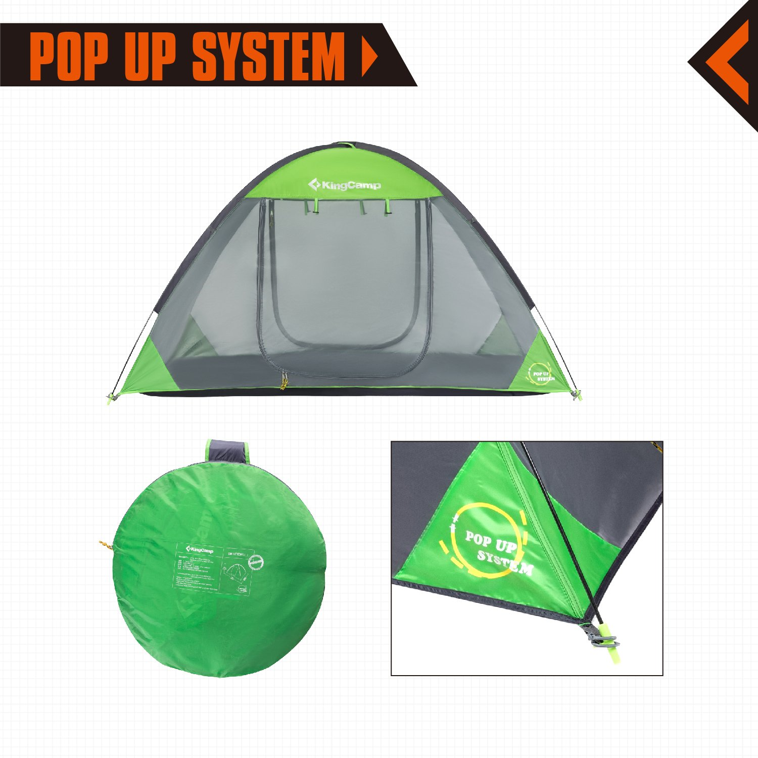 KingCamp Pop-up Free-standing Mesh Tent Breathable Mosquito-Net 1-Person Indoor and Outdoor Play Tent