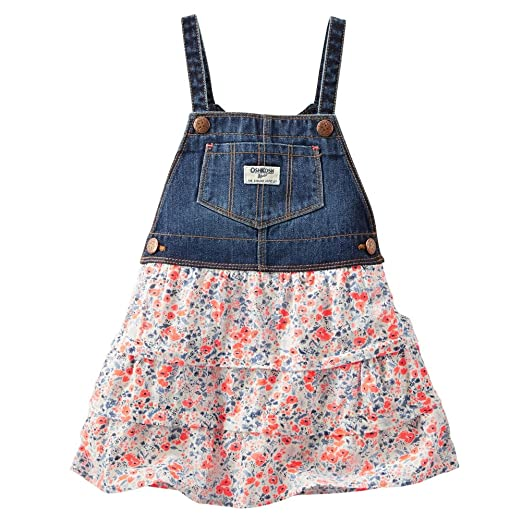 780527e6a169 Amazon.com  OshKosh B gosh Baby Girls  Floral Tiered Jumper Denim 12 ...