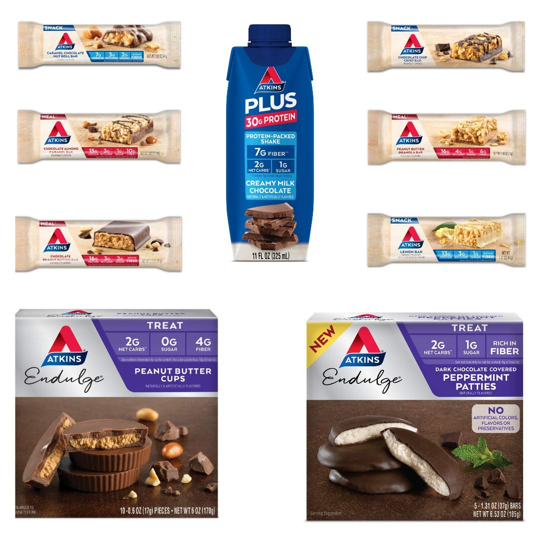 Atkins Sampler Pack- 1 RTD Protein Shake, 3 Meal Bars, 3 Snack Bars, 10 PB Cups and 5 Choco Peppermint Patties. Perfect Low Carb, Keto Friendly Products that are a Great Source of Fiber (22 Count)