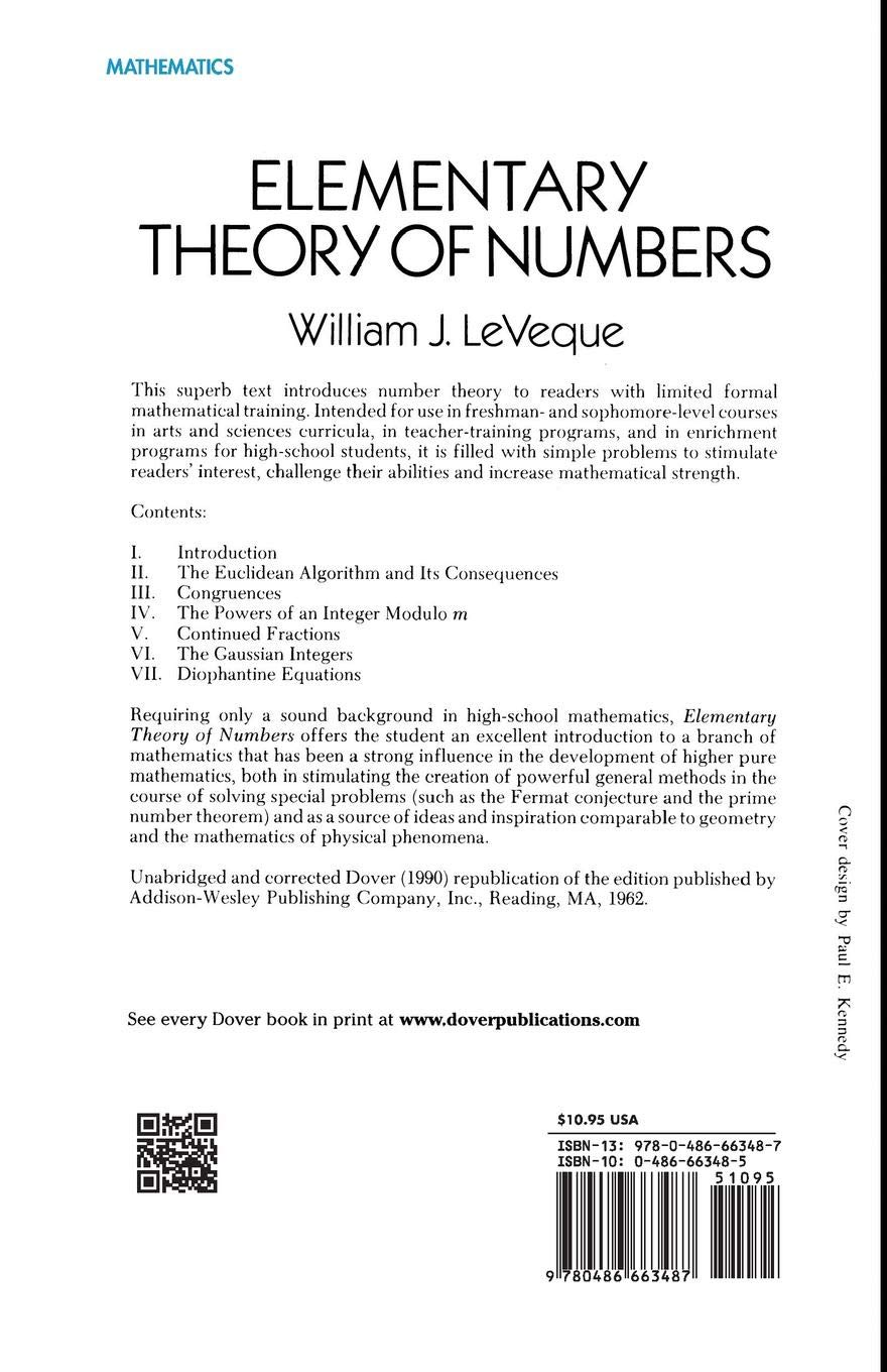 Buy Elementary Theory of Numbers (Dover Books on Mathematics