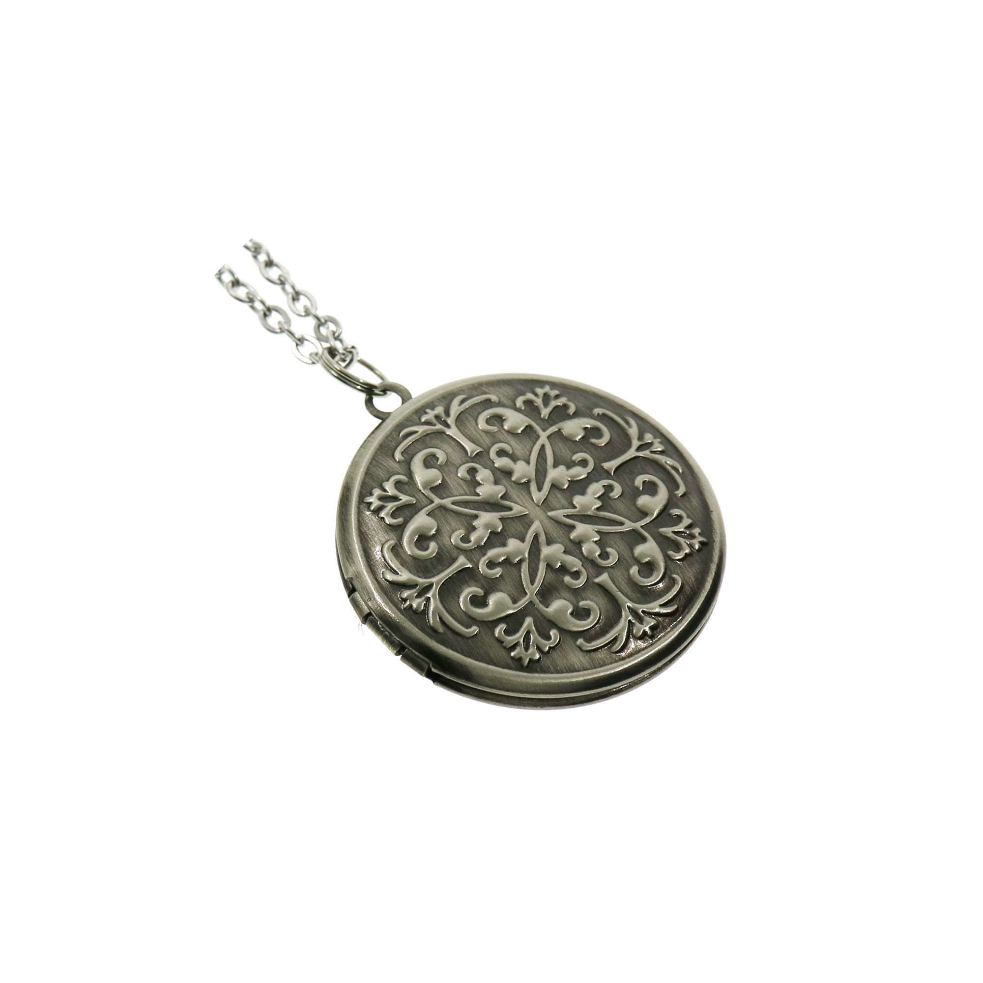 Vintage Style Antiqued Silver Flower Round Photo Locket Pendant Long Necklace for Women 27''
