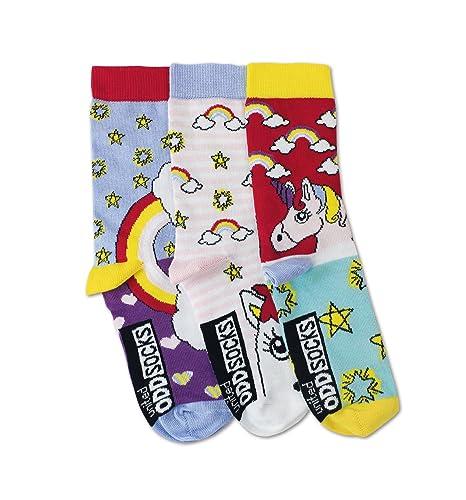 United Oddsocks - Unicorn/Unicornio - Niña - Talla 30 - 38 - 3 Calcetines