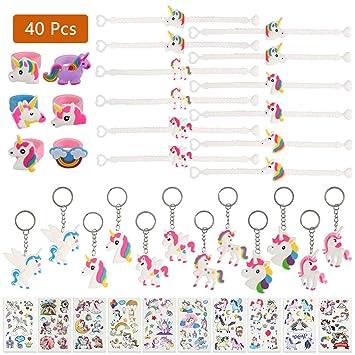 FOCCTS 40pcs Juguetes Piñatas Llaveros Rubber Anillos Pulseras Temporales de Unicornio para Niños Regalos Cumpleaños Fiestas