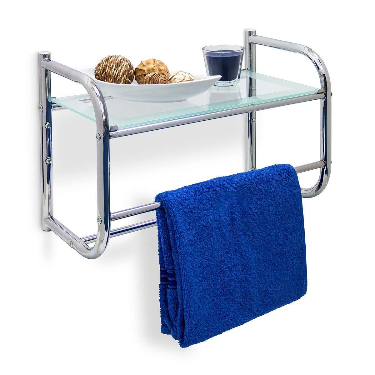 Relaxdays de pared fabricado en acero inoxidable con toallero & Glass-estante de H x