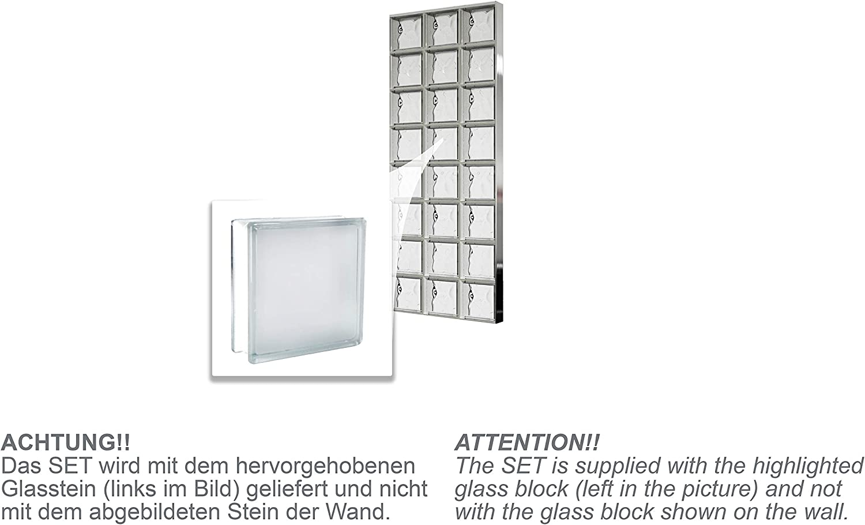 Bloques de vidrio mamparas de ducha JUEGO COMPLETO 73,5x196 cm ...