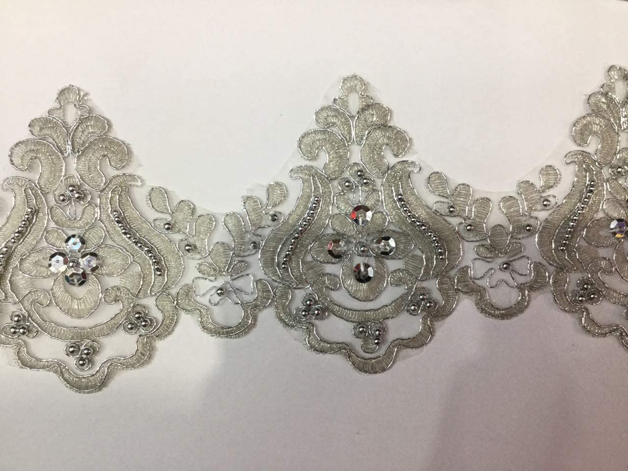 beading trims dress decorative supplies crafting,sewing Applique Sell By The Yard DIY Materials,Width 2.2 inches beaded lace trim