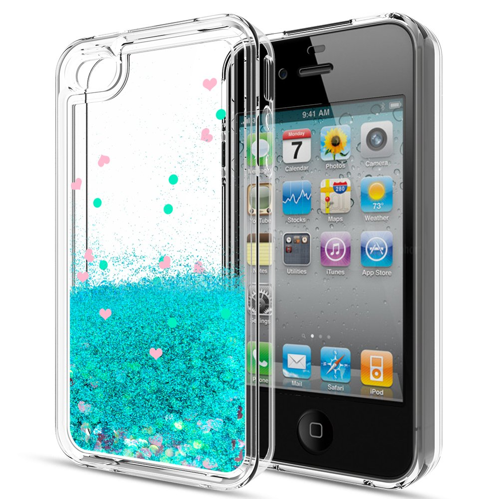 Case With HD Screen Protector For Girls WomenLeYi Cute Shiny Glitter Moving Quicksand Clear TPU Protective Phone Cover Apple IPhone 4 4S 4G ZX