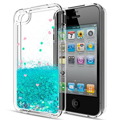 Review iPhone 4S Case,iPhone 4S Liquid Case with HD Screen Protector for Girls Women,LeYi Cute Shiny Glitter Moving Quicksand Clear TPU Protective Phone Case Cover for Apple iPhone 4/4S/4G ZX Turquoise