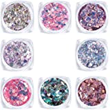 Laza 8 Colors Holographic Chunky Glitter Mixed Fine Glitter Iridescent Mermaid Sparkle Craft Dust Powder Tips for Acrylic Nai
