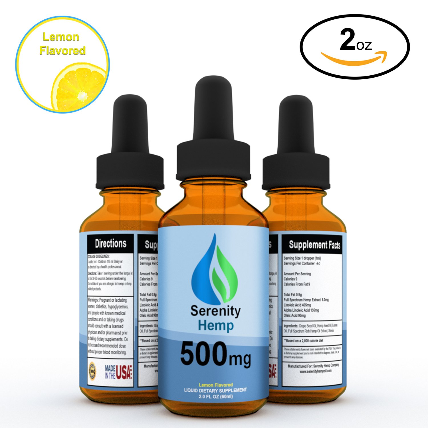 Serenity Hemp Oil - Lemon Flavor - 2 fl oz 500mg - Certified Organic - Relief for Stress, Inflammation, Pain, Sleep, Anxiety, Depression, Nausea - rich in Vitamin E, Vitamin B, Omega 3,6,9 and MORE