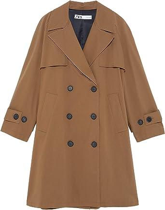 Zara 7240/642/700 - Abrigo con Botones para Mujer - Marrón - Large ...