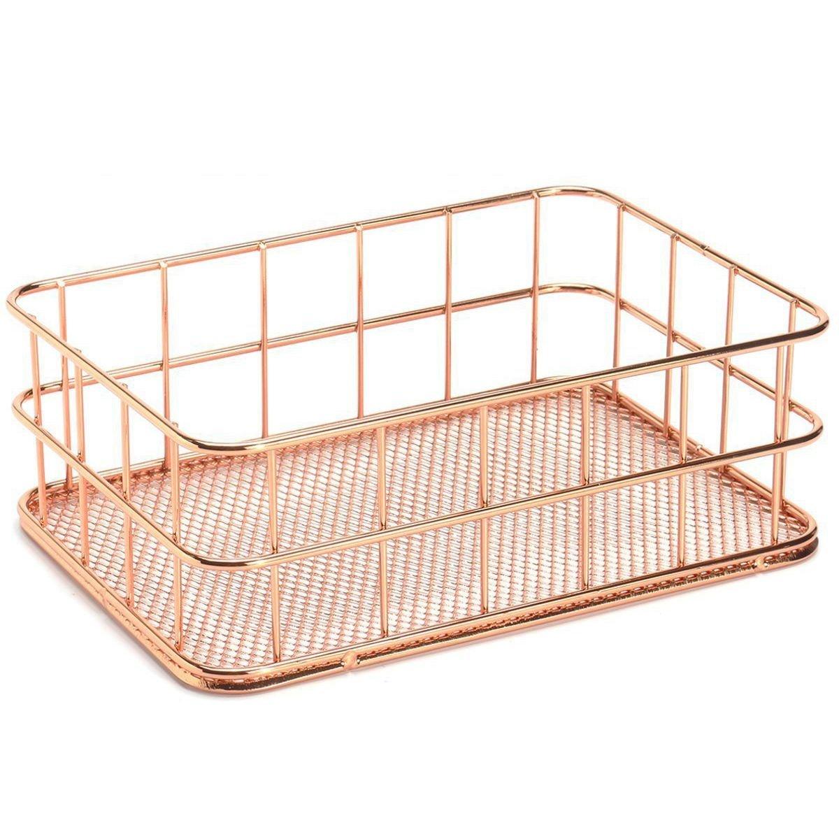 SODIAL Storage Basket metal Wire Bathroom Shelves Makeup Organiser Rose Gold Brush Pen Holder Wire Mesh Bathroom Toiletries Storage Basket