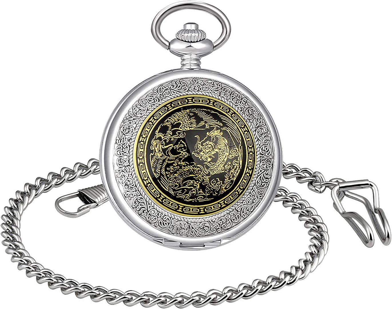 MICGIGI - Reloj de bolsillo mecánico para hombre/mujer, diseño de dragón chino con cadena (acero)