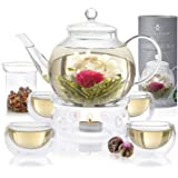 Teabloom Complete Tea Set - Stovetop Safe Glass Teapot with 12 Flowering Teas, Tea Warmer, 4 Double Wall Teacups & Removable