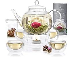 Teabloom Celebration Complete Tea Set – Stovetop Safe Glass Teapot (40 OZ / 1.2 L) with 4 Double-Wall Glass Teacups, Tea Warm
