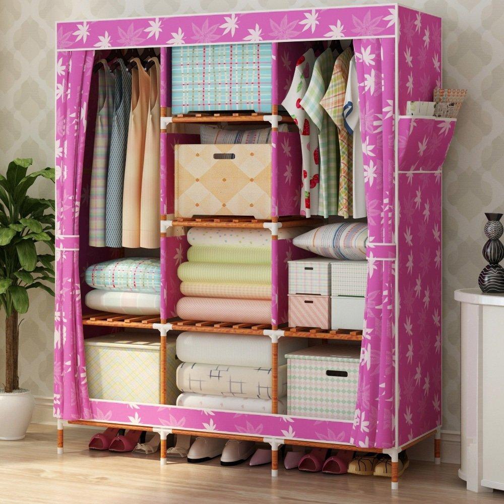 Armoire - tissu simple épaississement en bois massif Oxford tissu double rangement rangement rangement robe armoire armoire -