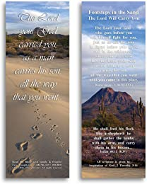 "Footsteps in the Sand, The Lord Will Carry You-Pack of 25 Cards - 2""x6"""