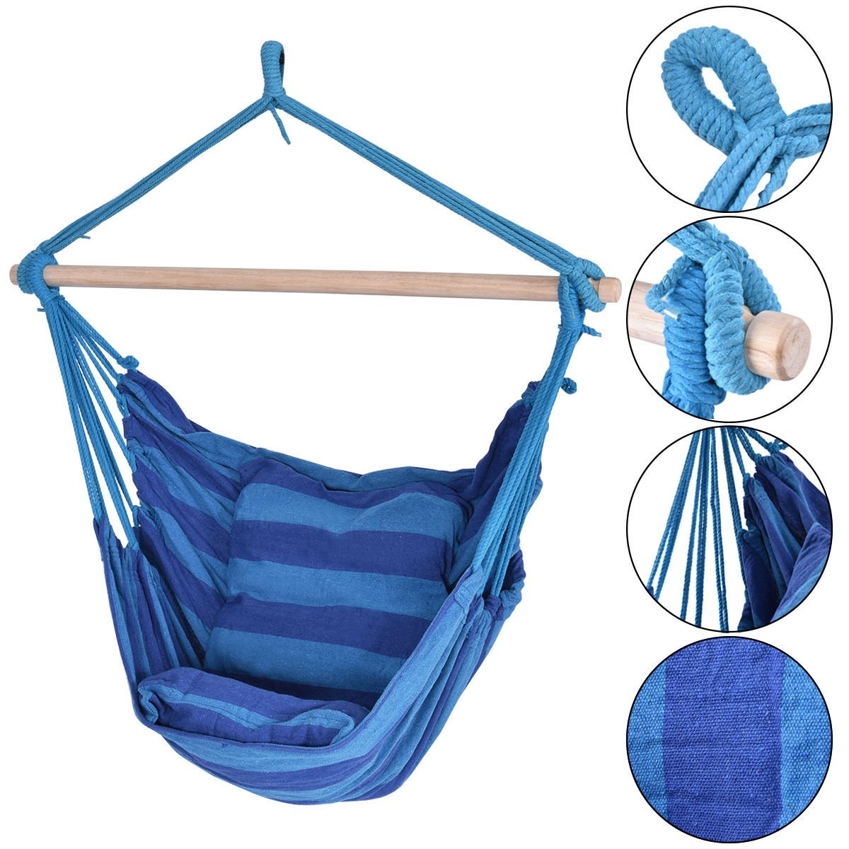 Blue Deluxe Hammock Rope Chair Patio Porch Yard Tree Hanging Air Swing Outdoor - 260lbs Capacity