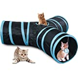 CO-Z Collapsible 3 Way Cat Tube Tunnel Bored Cat Pet Toys with Peek Hole and Toy Ball