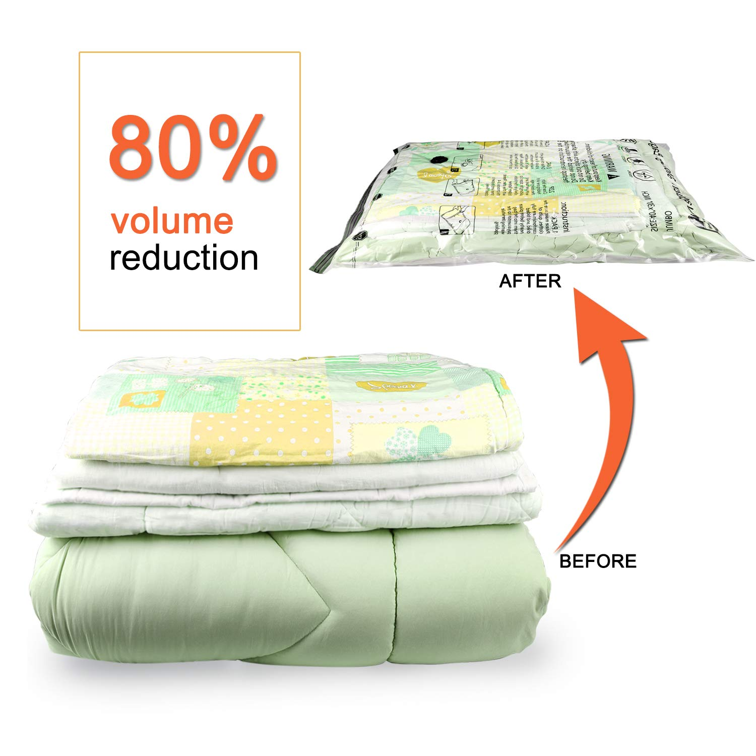 Travel Hand Pump Included SUOCO VAC-2004 Comforters 80/% More Space Saver Bags for Clothes Pillows Blankets 4 x Large, 4 x Jumbo Premium Vacuum Storage Bags 8 Pack