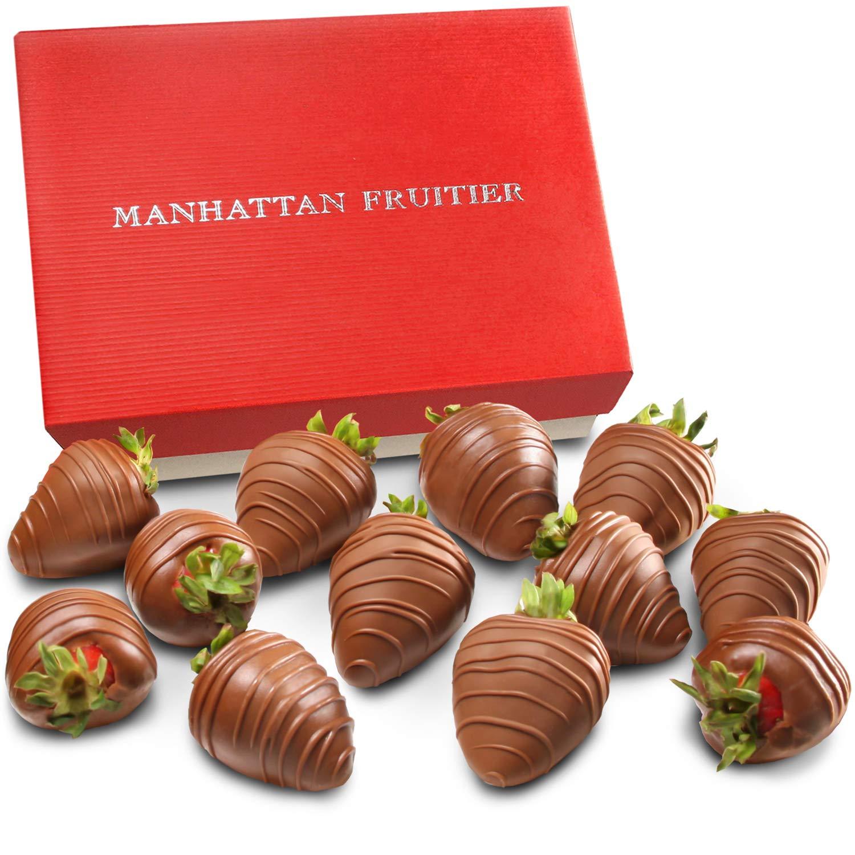 Manhattan Fruitier Belgian Milk Chocolate Dipped Strawberries, 12 Count