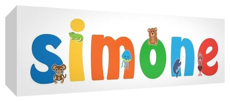 15 x 42 x 4 cm Disegno Personalizzabile con Nome da Ragazzi Simone Multicolore Little Helper LHV-SIMONE-1542-15IT Tela per Nursery con Pannello Frontale