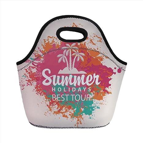 ee1842c00097 Amazon.com: Neoprene Lunch Bag, Quote Decor, Summer Holidays Best ...