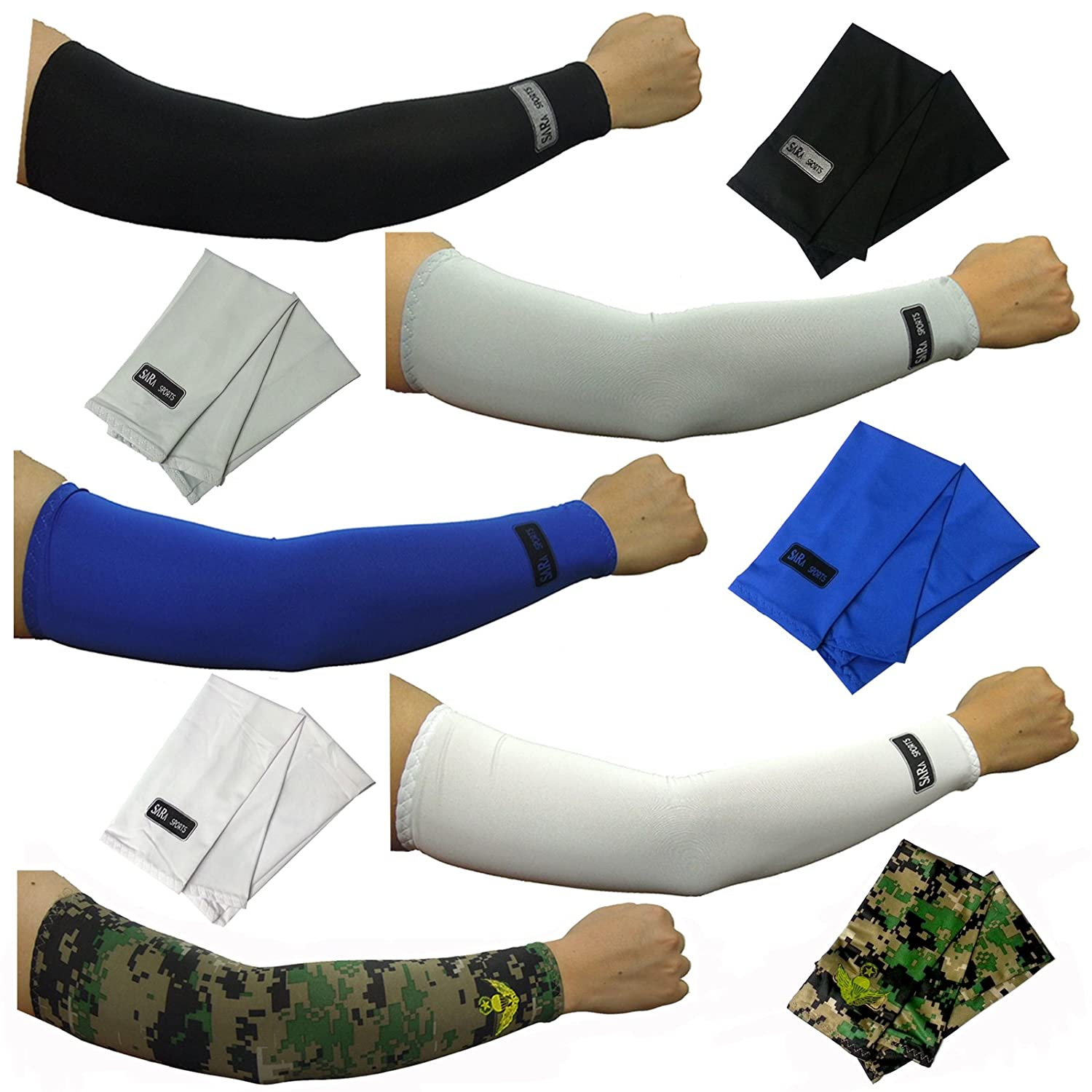 dulcefox 5pairs Arm Sleeves Set Cooling Athletic Sport Skins Sun Protective UV Cover camo MT