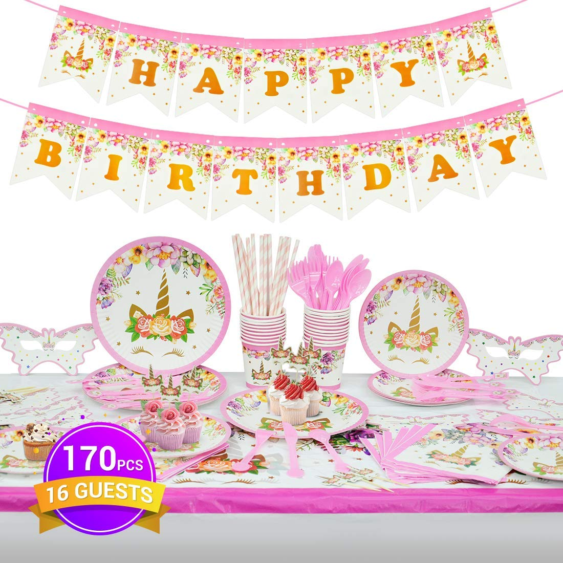 Unicorn Party Supplies,Binken Unicorn Party Decorations-170PCS Serve 16 Guests with Unicorn Plates,Birthday Banner,Napkins,Cups,Utensils,Cupcake Decorations,Unicorn Table Cloth for Birthday Party by Binken