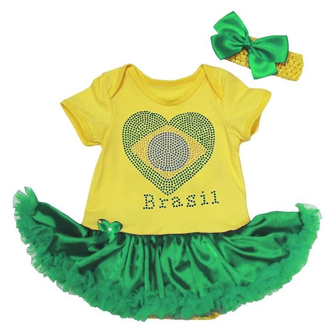 e64c6a6a4973 Petitebella Soccer Theme Flag of Brazil Heart Yellow Green Baby Dress  Nb-18m (0