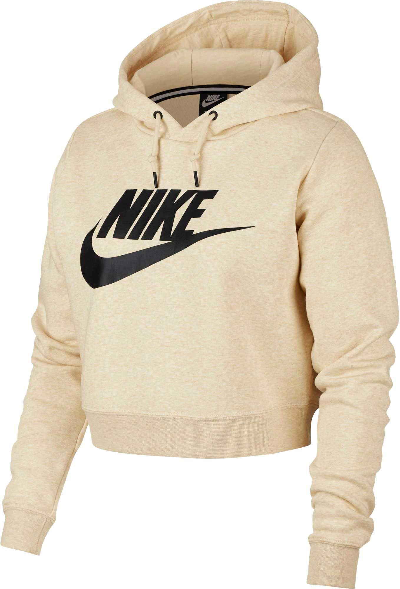 Nike Women's Sportswear Rally Cropped Hoodie (L, Light Cream)