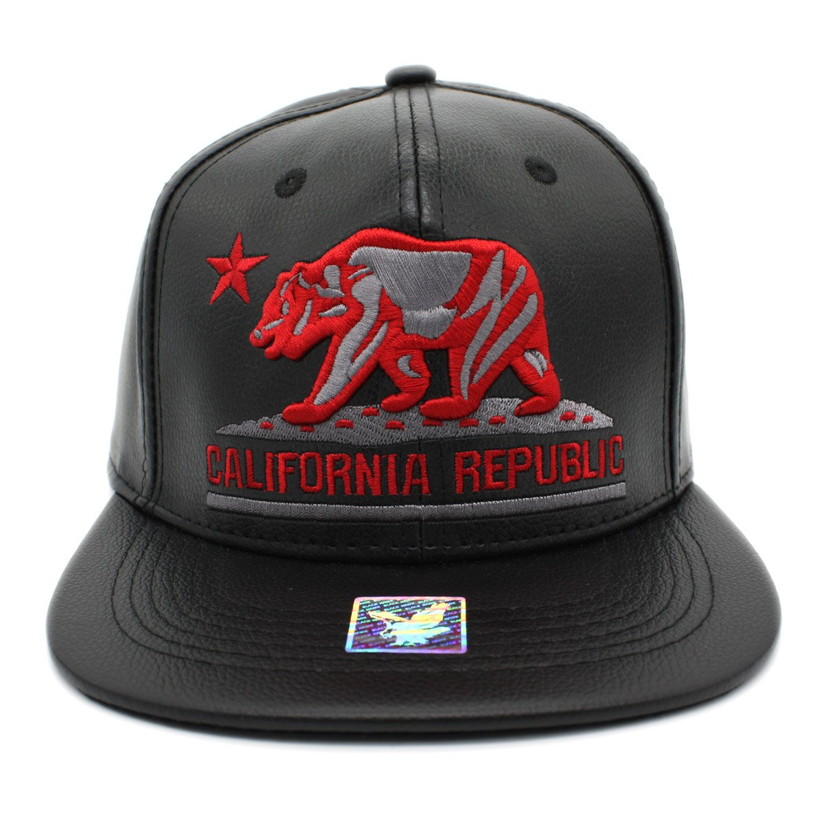 Embroidered CALIFORNIA REPUBLIC PU leather Flat Bill Snapback Cap (BLACK)  at Amazon Men s Clothing store  086fa69c8997