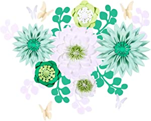 Fonder Mols 3D Paper Flowers Decorations for Wall (Green & White, Set of 19), Large Wedding Greenery Paper Flowers Centerpieces Backdrop, Baby Shower, Nursery Decor, Festival Party, NO DIY