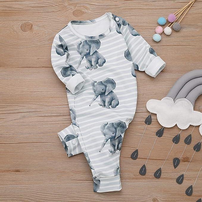 WEXCV Unisex Baby Jumpsuit Strampler Cartoon-Elefant Druck Neugeborene Schlafanzug Kleidung M/ädchen Jungen 0-18 Monate Nachtw/äsche S/äugling Kost/üm Spielanzug Overall