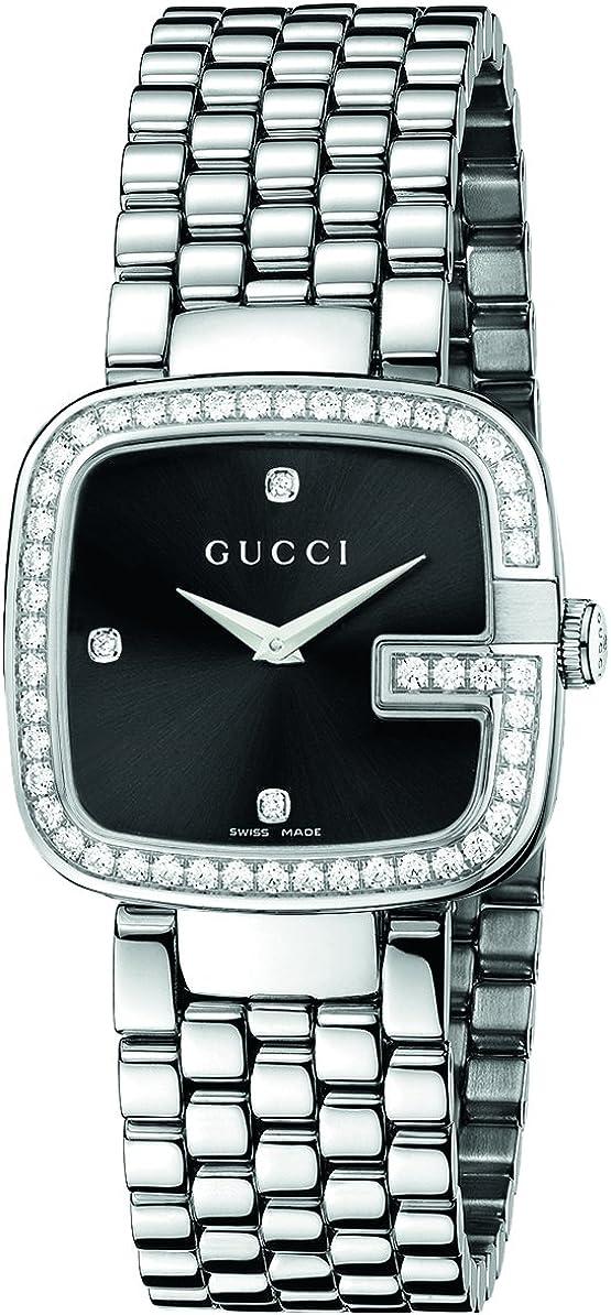 Gucci G GUCCI - Reloj de Cuarzo para Mujer, con Correa de Acero Inoxidable, Color Plateado