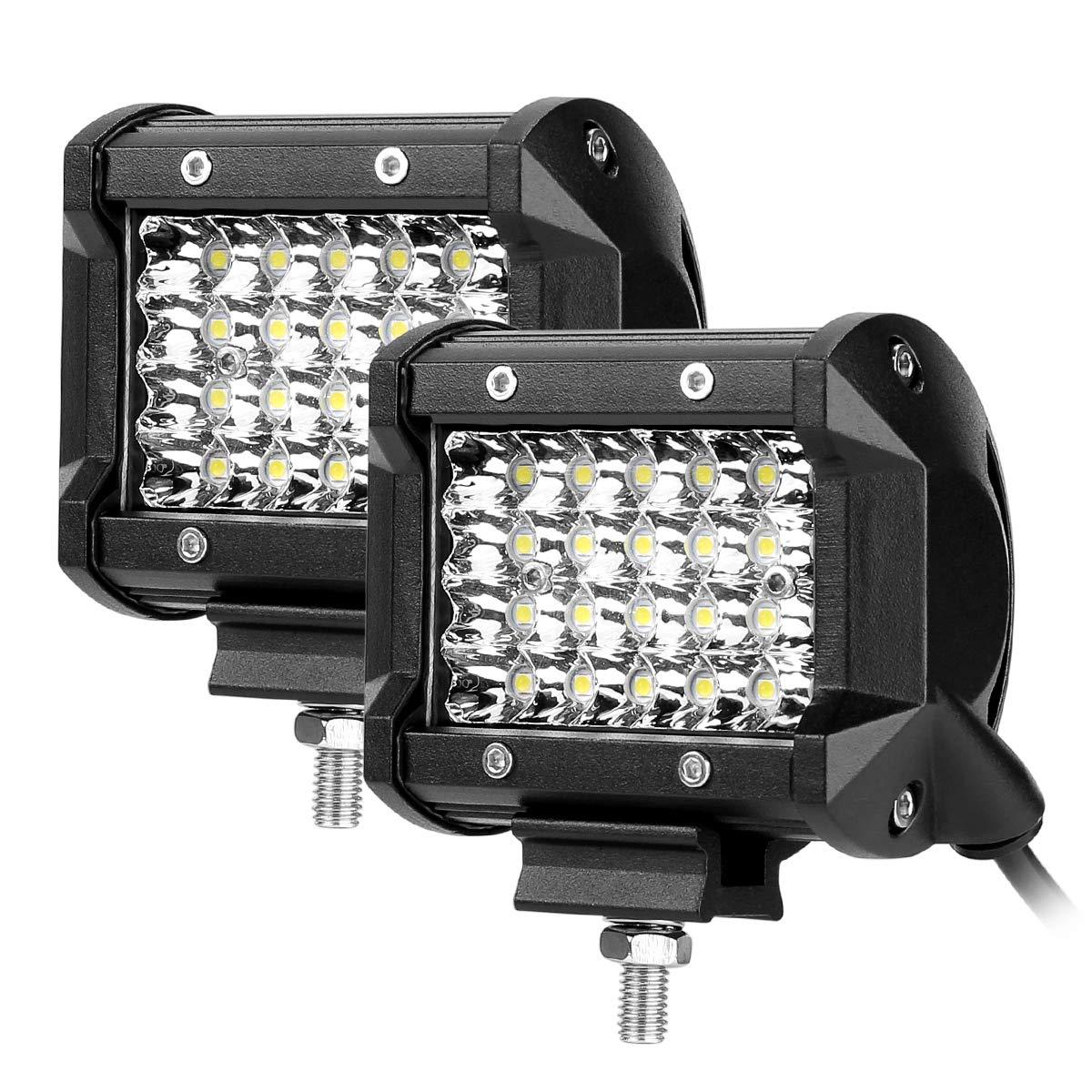 LE 2 Fari LED 72W x 2, fascio di luce combinato, Proiettore Fendinebbia Impermeabile IP68, 10400lm, 6000K per per Fuoristrada Macchina Barca Camper Mezzi pesanti Trattore Caravan Lighting EVER