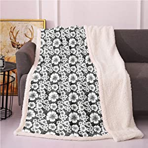 SeptSonne Vintage Fleece Blanket,Monochrome Nostalgia with Apple Blossoms and Irregular Dots Flannel Bed Blankets,Fleece Fabric Blanket(40in x 50in,Charcoal Grey White)