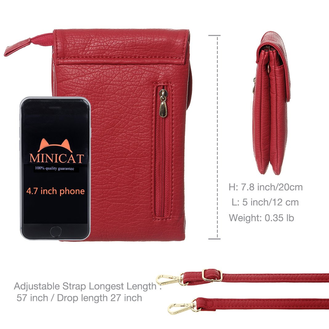 MINICAT Snythethic Leather Small Crossbody Bag Cell Phone Purse Wallet For Women(Red) by MINICAT (Image #5)
