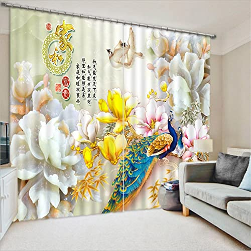 LB Flower 3D Window Curtains for Bedroom Living Room,Rose Flowers and Peacock Classical Asian Art Teen Kids Room Darkening Blackout Curtains Drapes 2 Panels,28 by 65 inch Length