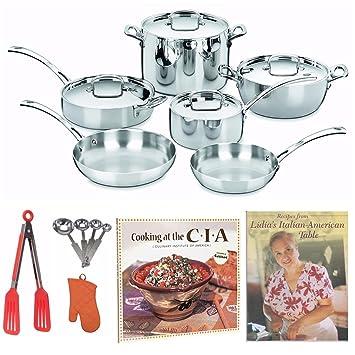 Cuisinart FCT10 francés clásico inoxidable tri-ply juego de sartenes Set + 2 libros de cocina, manopla para horno y más: Amazon.es: Hogar