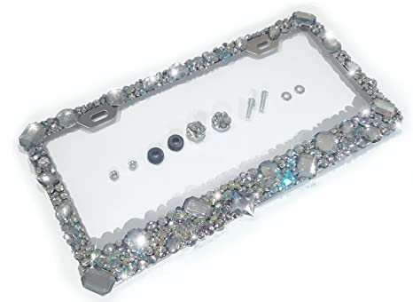 Amazon.com: Bling License Plate Frame with Crystals Ab Iridescent ...