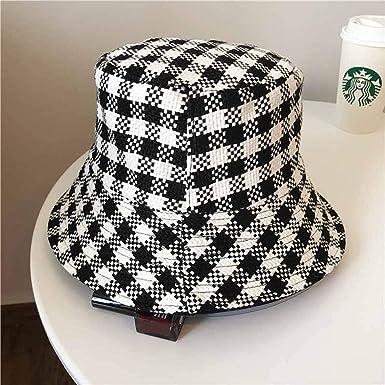7479bd8bda4 2019 New Positive Negative Can Wear Bucket Hats Plaid Flat Bob Hat for  Women Men Autumn
